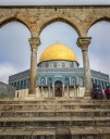In front of the Dome of the Rock in Jerusalem's Old City